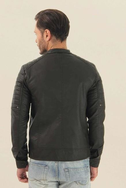 Jack & Jones Black Solid Leather Casual Jacket