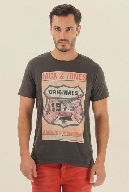 Jack & Jones Brown Printed Crew Neck T-Shirt