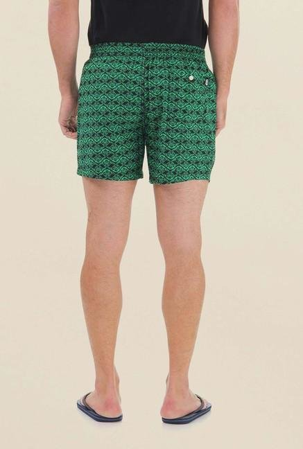 Jack & Jones Green Printed Boxer