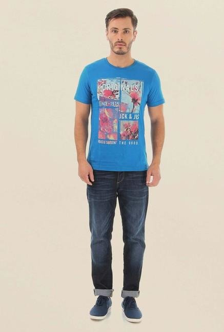 Jack & Jones Blue Printed Cotton T-Shirt
