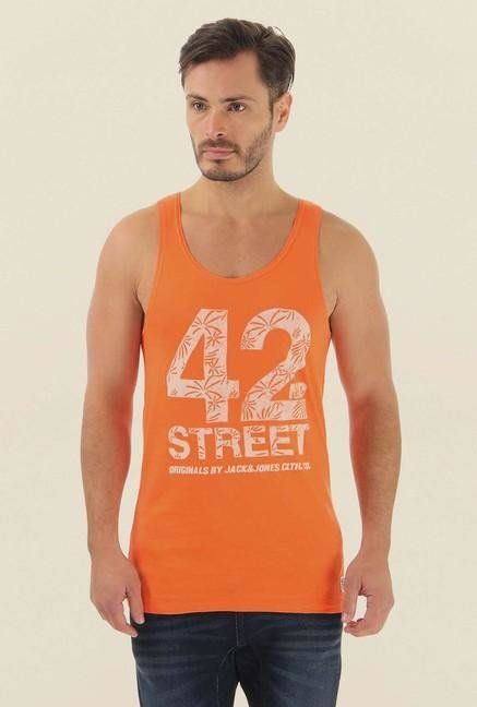 Jack & Jones Orange Printed Vest
