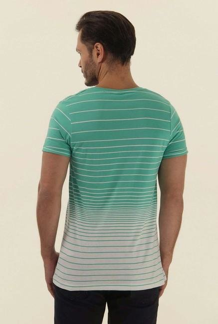 Jack & Jones Mint Green Striped Crew Neck T-Shirt
