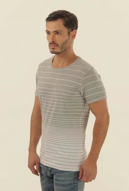 Jack & Jones Grey Striped Crew Neck T-Shirt