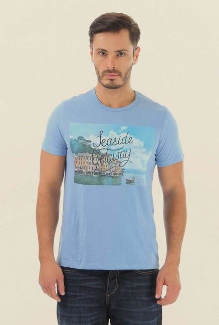 Jack & Jones Light Blue Printed Crew Neck T-Shirt