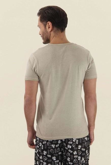 Jack & Jones Beige Printed Crew Neck T-Shirt