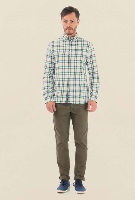 Jack & Jones Green & White Checks Casual Shirt