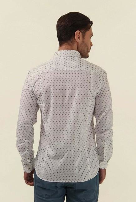 Jack & Jones White Printed Casual Shirt