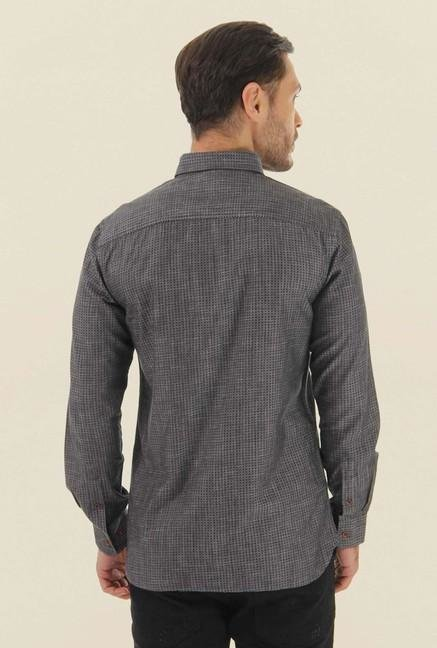 Jack & Jones Dark Grey Printed Casual Shirt
