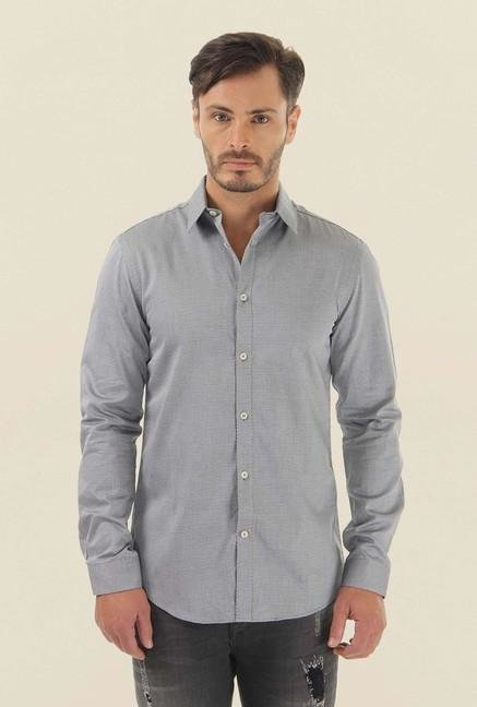 Jack & Jones Grey Self Printed Casual Shirt