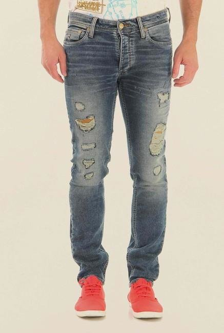 Jack & Jones Blue Ripped Mid Rise Jeans