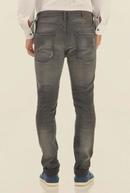 Jack & Jones Grey Mid Rise Distressed Jeans
