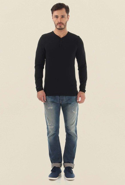 Jack & Jones Black Solid Henley Neck T-Shirt