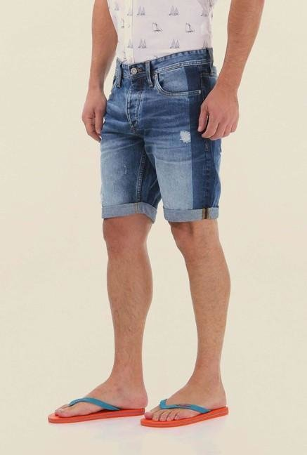 Jack & Jones Denim Blue Distressed Shorts