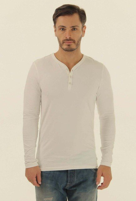 Jack & Jones White Solid Henley Neck T-Shirt