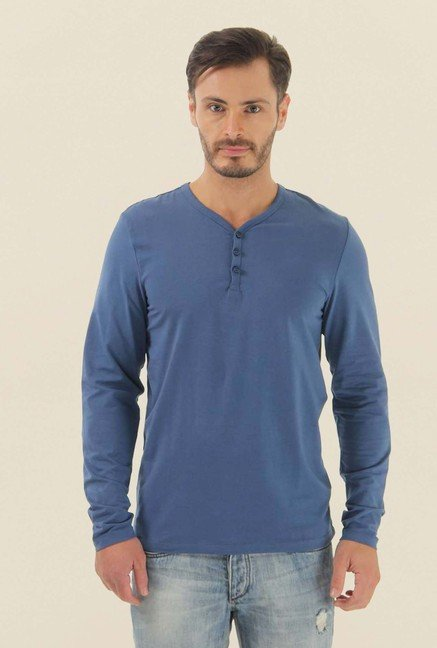 Jack & Jones Blue Solid Henley Neck T-Shirt