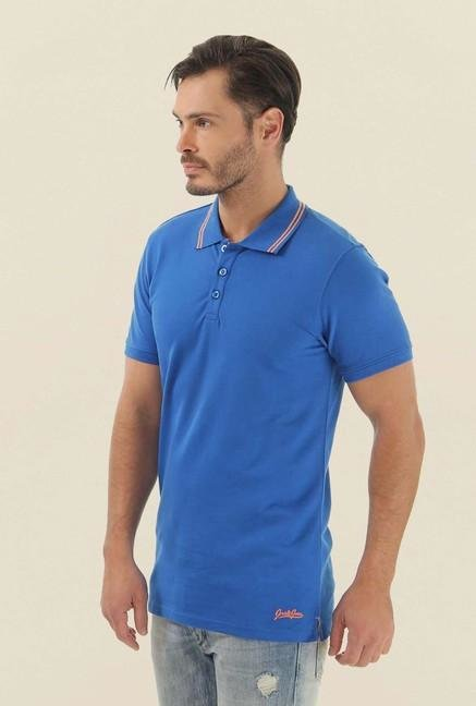 Jack & Jones Blue Solid Polo T-Shirt