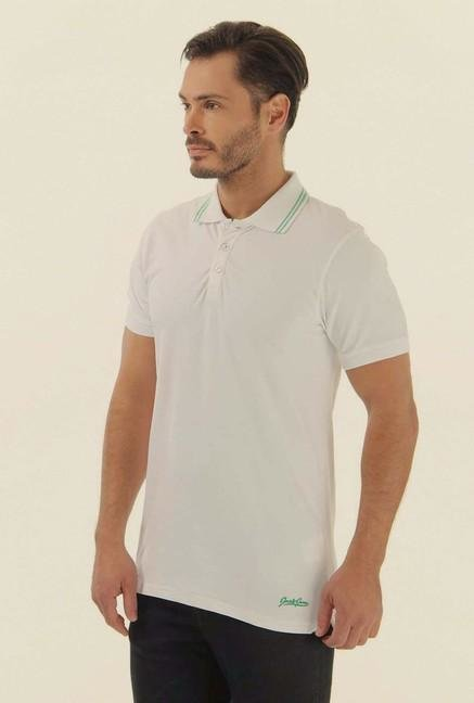 Jack & Jones White Solid Polo T-Shirt
