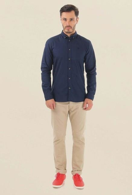 Jack & Jones Dark Blue Solid Casual Shirt