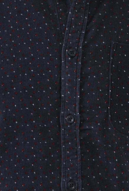 Jack & Jones Navy Printed Cotton Casual Shirt