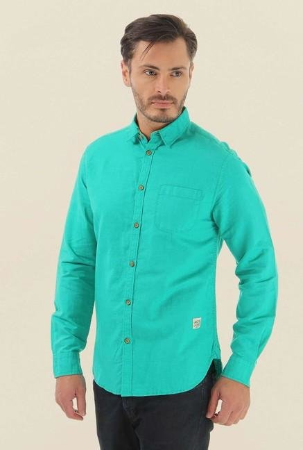Jack & Jones Turquoise Solid Casual Shirt