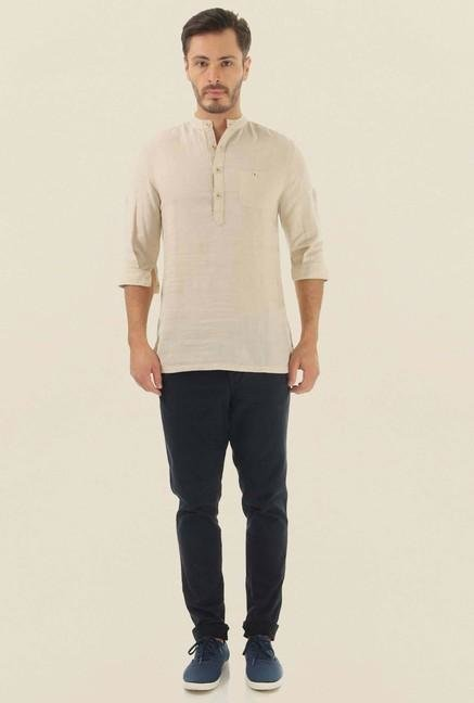 Jack & Jones Beige Solid Casual Shirt