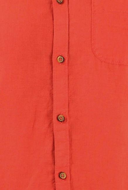 Jack & Jones Orange Solid Casual Shirt