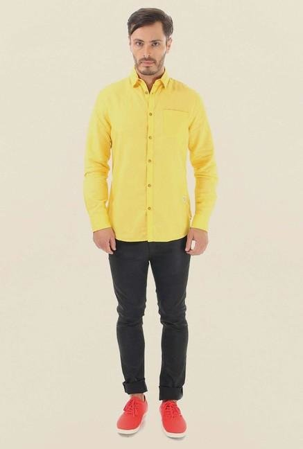 Jack & Jones Yellow Solid Casual Shirt