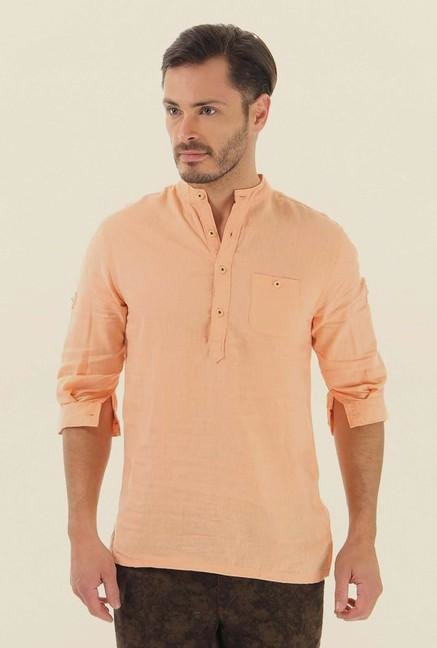 Jack & Jones Peach Solid Cotton Shirt