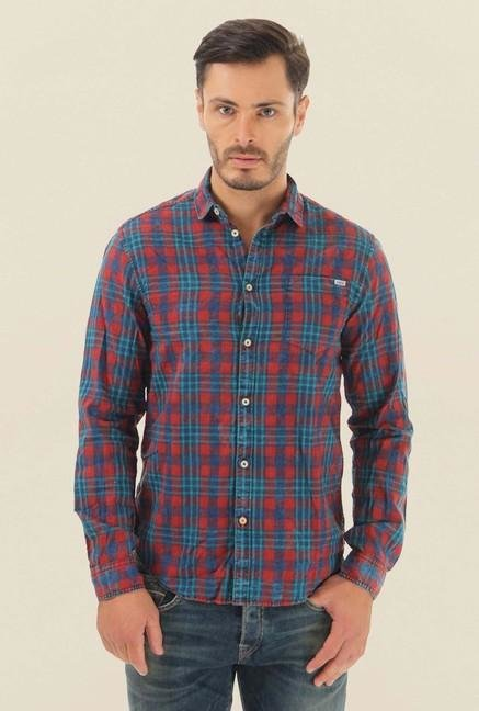 Jack & Jones Red & Blue Checks Shirt