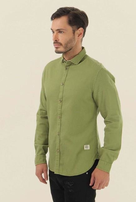 Jack & Jones Olive Solid Casual Shirt