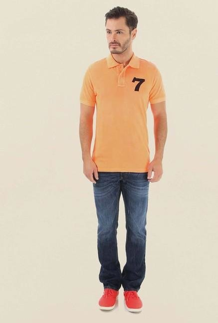 Jack & Jones Orange Solid Polo T-Shirt