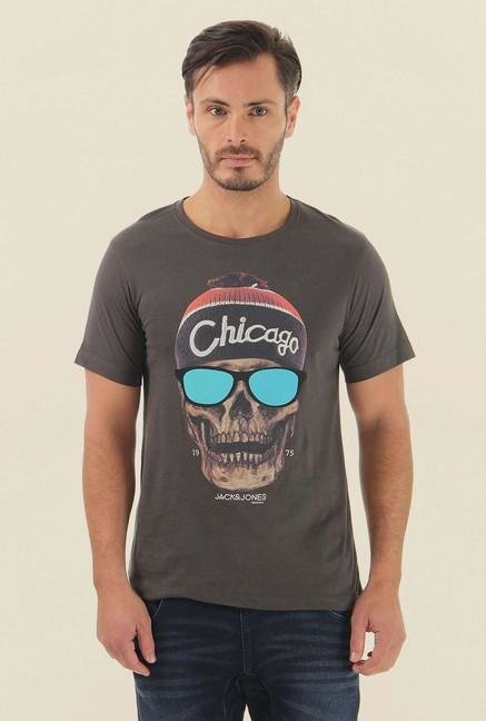 Jack & Jones Brown Printed Half Sleeves T-Shirt