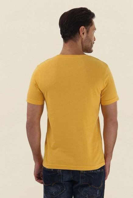Jack & Jones Yellow Printed Crew Neck T-Shirt