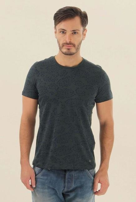 Jack & Jones Grey Printed Crew Neck T-Shirt
