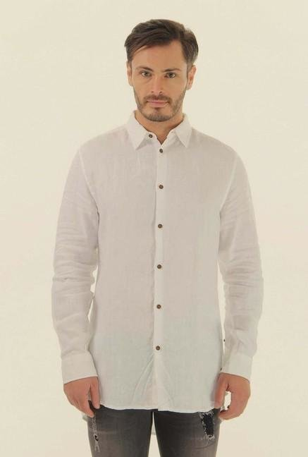 Jack & Jones White Solid Cotton Shirt