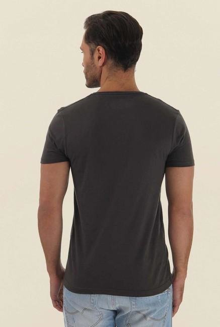 Jack & Jones Dark Grey Printed Crew Neck T-Shirt