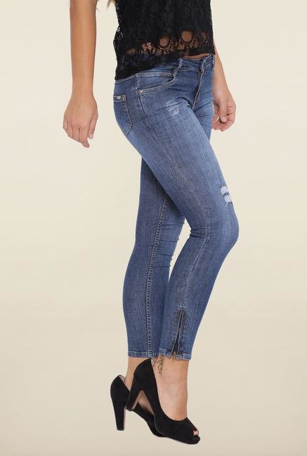 Kraus Blue Mid Rise Ankle Length Jeans
