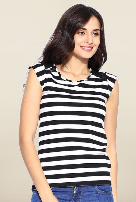 Kraus Black And White Striped T-Shirt