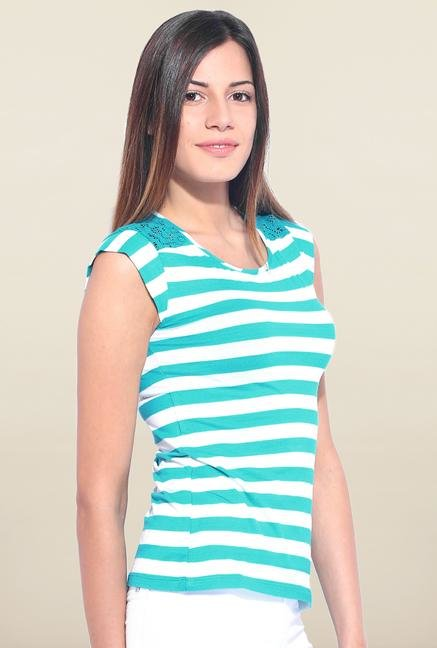 Kraus Blue And White Striped T-Shirt