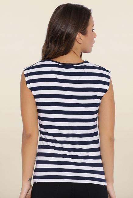 Kraus Navy Blue And White Striped T-Shirt