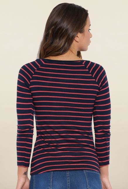 Kraus Navy Blue Striped T-Shirt