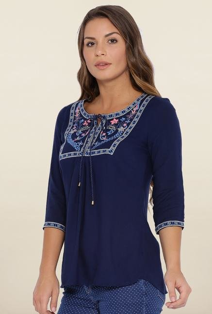 Kraus Navy Blue Embroidered Top