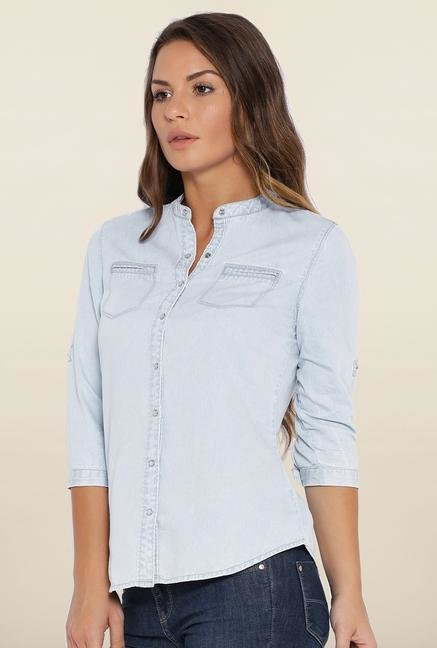 Kraus Light Blue Cotton Casual Shirt