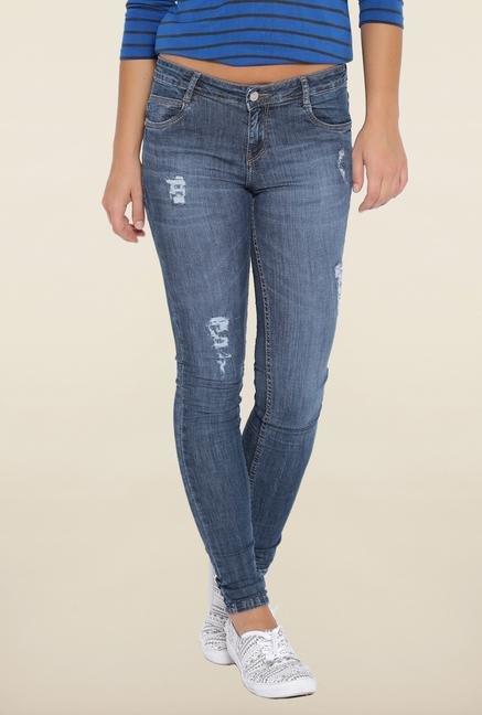 Kraus Blue Distressed Skinny Fit Jeans