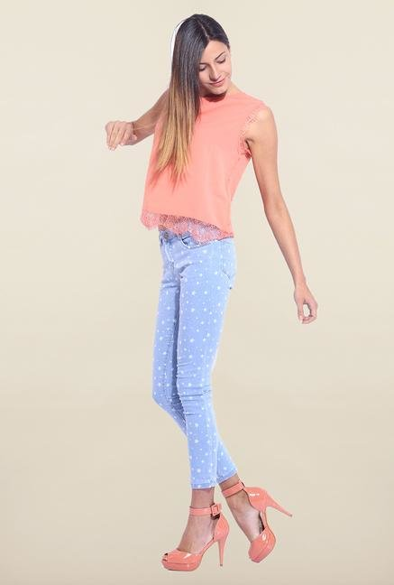 Kraus Light Blue Ankle Length Printed Jeans