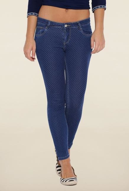 Kraus Blue Printed Ankle Length Jeans
