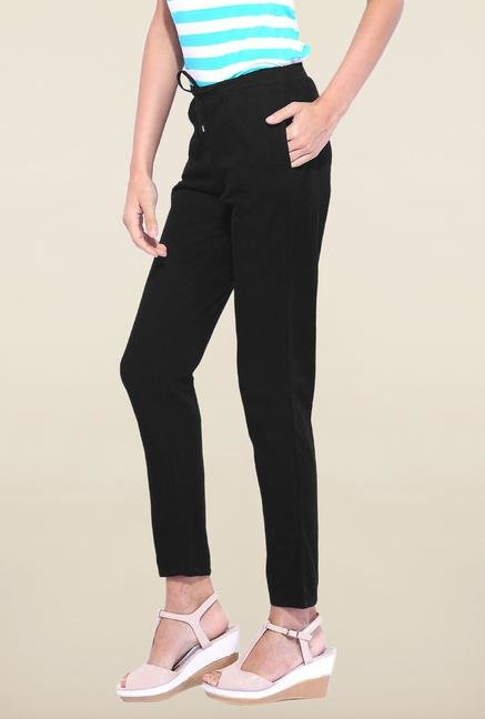 Kraus Black Drawstring Casual Trouser