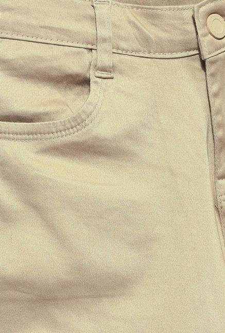 Kraus Beige Skinny Fit Cotton Trouser