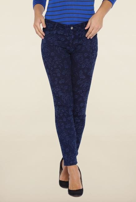 Kraus Blue Ankle Length Printed Jeans