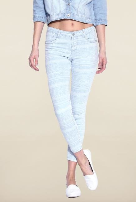 Kraus Light Blue Printed Skinny Fit Jeans